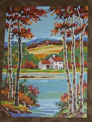 House Scene With Barn With Fall Colors- Paint By Number-Vintage-12X16
