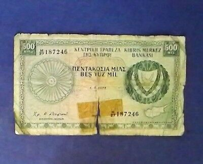 CYPRUS: 1 x 500 MIL Banknotes  - Fine Condition