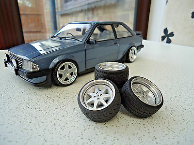 "1:18 Ford 16"" Rs ""7 Spoke"" Alloy Deep Dish Wheels And Tyres Modified-Tuning-Rare"