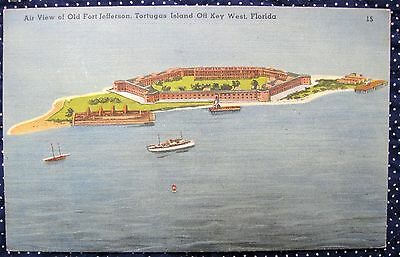 VINTAGE POSTCARD AIR VIEW OLD FORT JEFFERSON TORTUGAS ISLAND  KEY WEST FL1950s