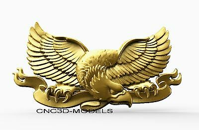 3D Model STL for CNC Router Engraver Carving Artcam Aspire USA Eagle Animal 8130
