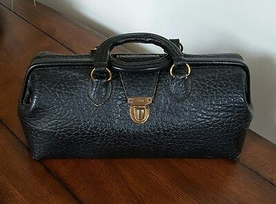 Vintage Doctor Medical Bag Pebbled Black Leather Eli Lilly
