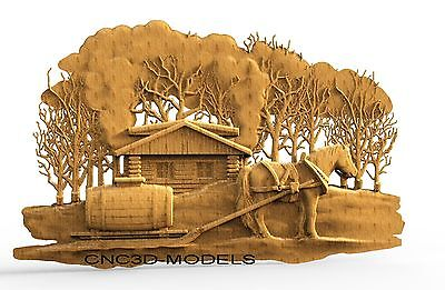 3D Model STL for CNC Router Carving Artcam Aspire House Horse Animal 8141