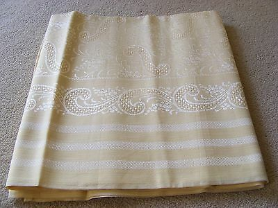"Vintage linen tablecloth, pale gold colour, silver embroidery, 48"" square"