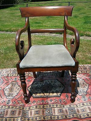 Regency Mahogany Open Arm Chair with Shepherd Crook Arms