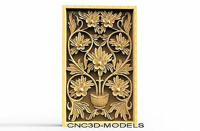 3D Model STL for CNC Router Engraver Carving Artcam Aspire Flowers Pano 8147
