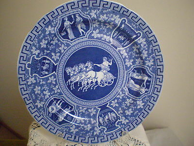 "COPELAND SPODE PLATE ""GREEK""  PATTERN BLUE AND WHITE Rd.No.689277 1920 STUNNING!"