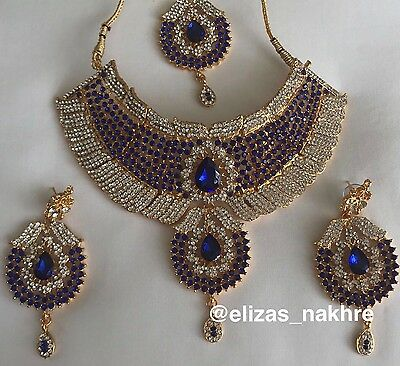Bollywood Style Royal Blue and Gold necklace set