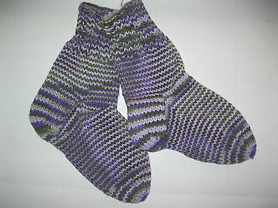 Hand Knit Womens Socks size 9 Acrylic Made In New England Funky Stripe Purple