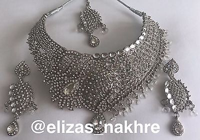 Bollywood Style White rhinestone and Silver necklace set