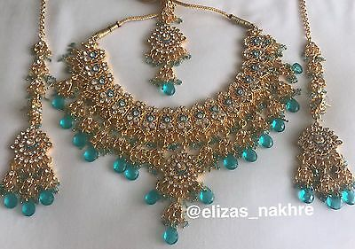 Bollywood Jhoda Akbar Style Turquoise and Gold necklace set
