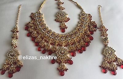 Indian/Pakistani Bollywood Jhoda Akbar Style Red and Gold necklace set