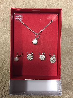 New Claire's Silver Necklace With Interchangeable Charms