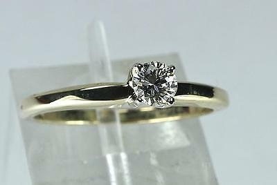 1¢ Auction 25pt. Round Brilliant Cut Diamond 14kt Yellow Gold Engagement Ring
