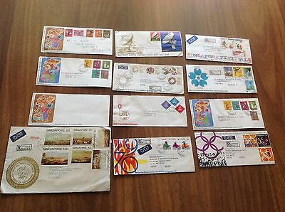 Singapour Singapor Stamp / 12 First Day Cover Fdc Airmail Envelopp Stamps Timbre