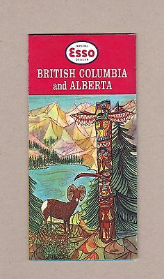 1958 Esso British Columbia and Alberta Vintage Road Map. Cover Art by Mardon.