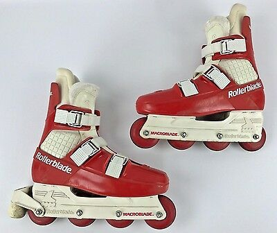 Vintage Rollerblade Macroblade Red & White Inline Skates Size 9 - 302/95