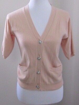 Talbots 3/4 sleeve Peach Cardigan with Rhinestone Buttons Cashmere sweater S/XS