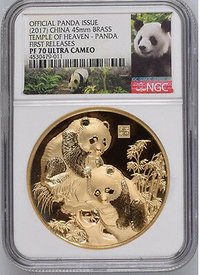 NGC PF70 2017 China Temple of Heaven Panda Brass High Relief Medal COA and BOX