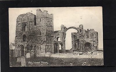 Old postcard of Holy Island Priory, Lindisfarne Nothumberland 1927.