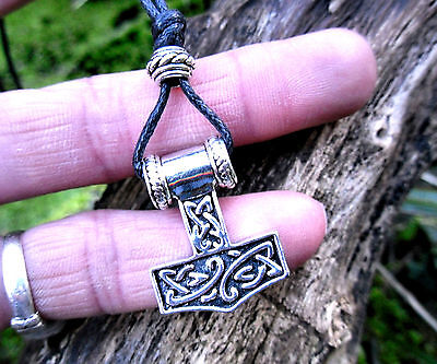 Thors Hammer Mjolnir Pendant Cord Necklace Viking Pagan Norse Amulet Protection