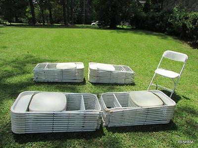 Used White Samsonite Folding Plastic Chair - Stackable - Commercial Quality