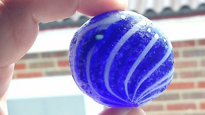 Genuine Murano Sea Glass Deep Indigo w/ Black & White Strands (U53) RARE!