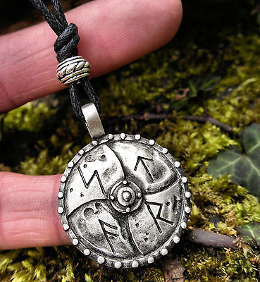 Viking Runic Shield Runes Pendant Cord Necklace Norse Amulet Protection Pagan