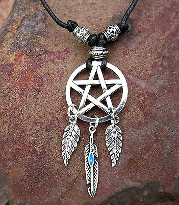 Pentacle Dream Catcher Pentagram Pendant Cord Necklace 3 Feather Wicca Pagan
