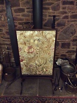 Antique, Tall, Framed And Glazed, Silk Fire-screen.