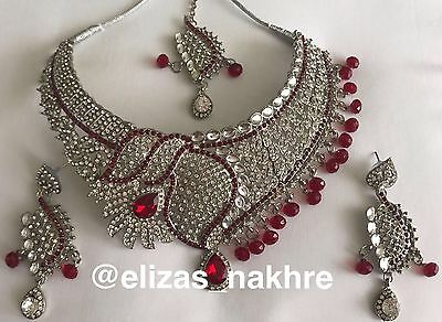 Bollywood Style Red and Silver necklace set