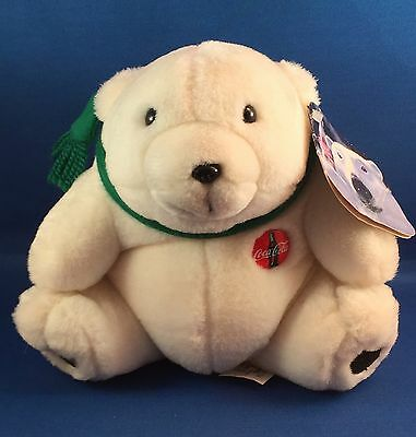 "Coca Cola COKE POLAR BEAR, 6"", Excellent Cond. White Plush Green Scarf Tags 1994"