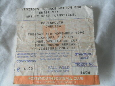 1990 Portsmouth V Chelsea League Cup 3Rd Round Replay Ticket