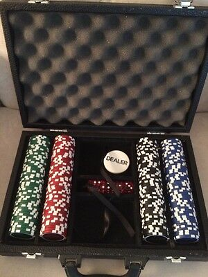 Vintage 1980's Five Star Poker Chip Game Set Kit Case Dice Dealer Black 80's