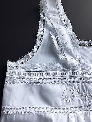 Antique Nightgown 1900 Victorian Size 14 French Lace Hand Embroidered Hand Sewn
