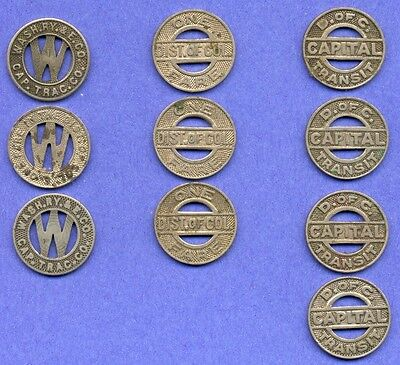 "Vintage Lot of 10 - District of Columbia Transit Tokens 5/8"" in Diameter"