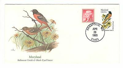 USA cover 1985 Birds of the 50 States Maryland Bird stamps USA stamps