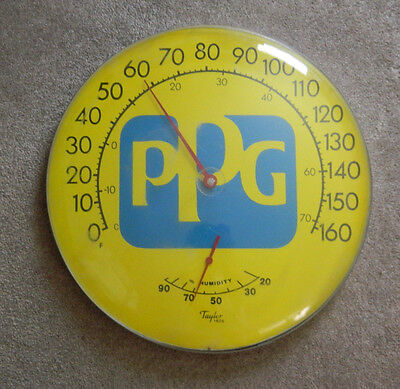 PPG Round Automotive Advertising Thermometer Humidity Wall Vintage