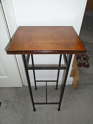 Wooden top metal framed plant stand