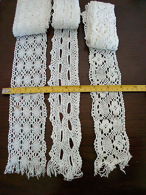 3 Vintage White Cotton Lace Trims Craft Sewing Victorian Collars & Cuffs or BAGS