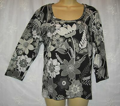 New Chico's Black Gray Stretch Cotton Pullover Top Blouse Size 2