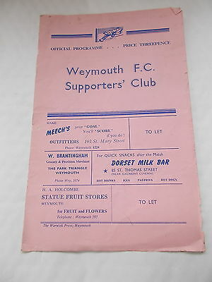 Weymouth Town F.C. V Minehead Football Programme Dated Saturday 24th August 1957