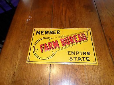 Vintage 1950s (NY) Empire State Farm Bureau Tin Embossed Metal Advertising Sign
