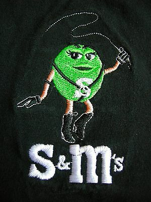 Green S & M T-Shirt Humor Embroidered Black cotton Candy Large EUC Unisex