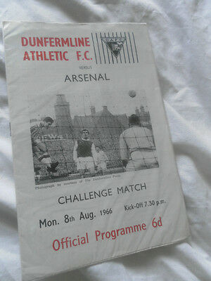 Rare 1966 Pre Season Friendly Dunfermline V Arsenal