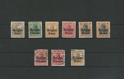 1916 German Occupation Of Belgium Mint & Used Stamps Over Prints (Ewb)