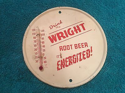 "RARE 1950s WRIGHT ""Energized"" ROOT BEER Round Metal THERMOMETER"