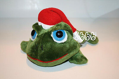 Russ Berrie SHECKY Frog Lil Peepers Santa Hat Big Blue Eye Christmas Stuffed Toy