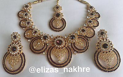 Bollywood Style Purple and Gold necklace set