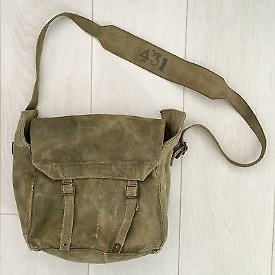 Original Vintage WWII British Army P37 Small Pack Canvas Satchel Haversack 1941
